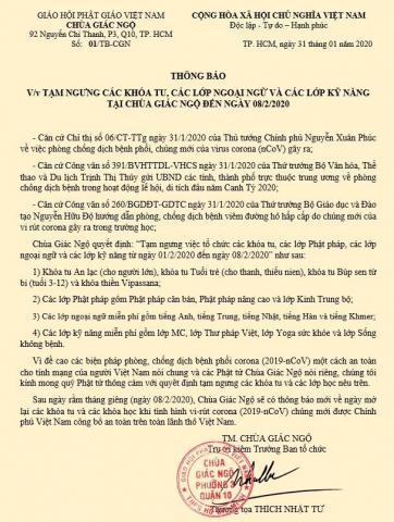 THÔNG BÁO  V/v TẠM NGƯNG CÁC KHÓA TU, CÁC LỚP NGOẠI NGỮ VÀ CÁC LỚP KỸ NĂNG TẠI CHÙA GIÁC NGỘ ĐẾN NGÀY 08/2/2020