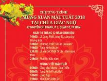 Chương trình Tết Mậu Tuất 2018 tại chùa Giác Ngộ